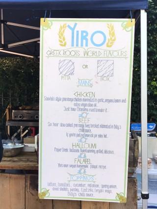 Yiro's menu